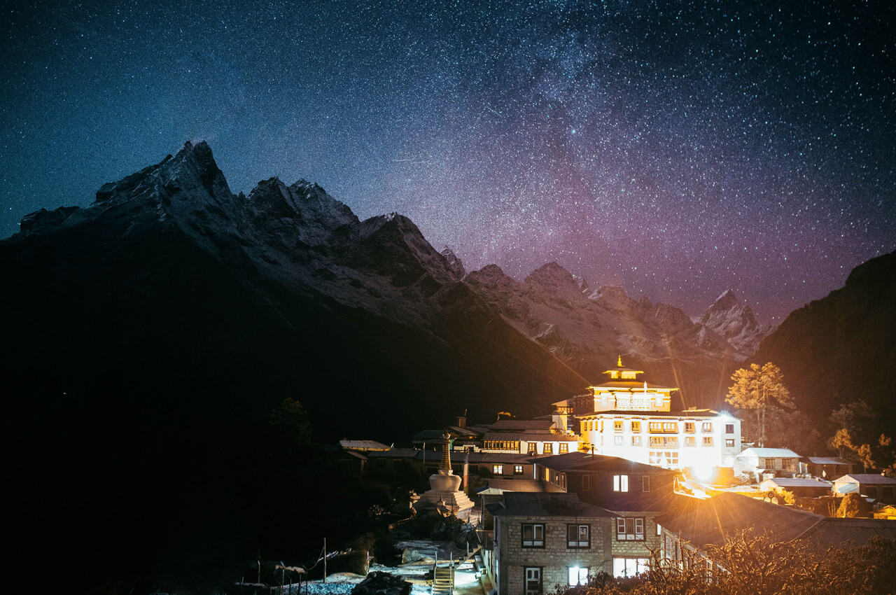 Night view of tengboche monastery with sparkling night