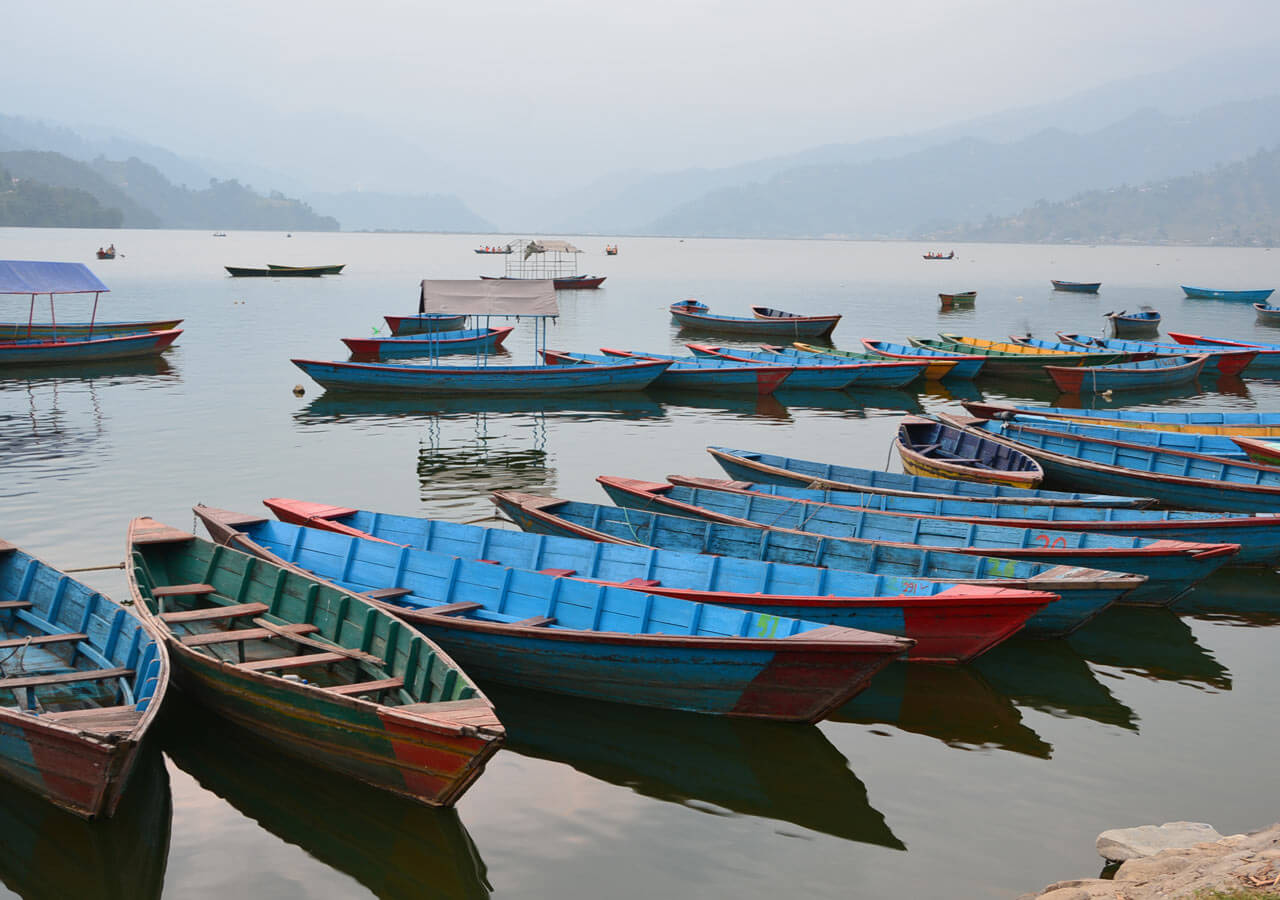 Boats at Fewa Lake in Pokhara