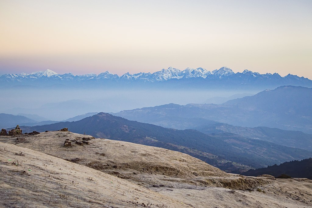 Panoramic view of Rolwaling mountain ranges from Sailung Dada, Dolakha