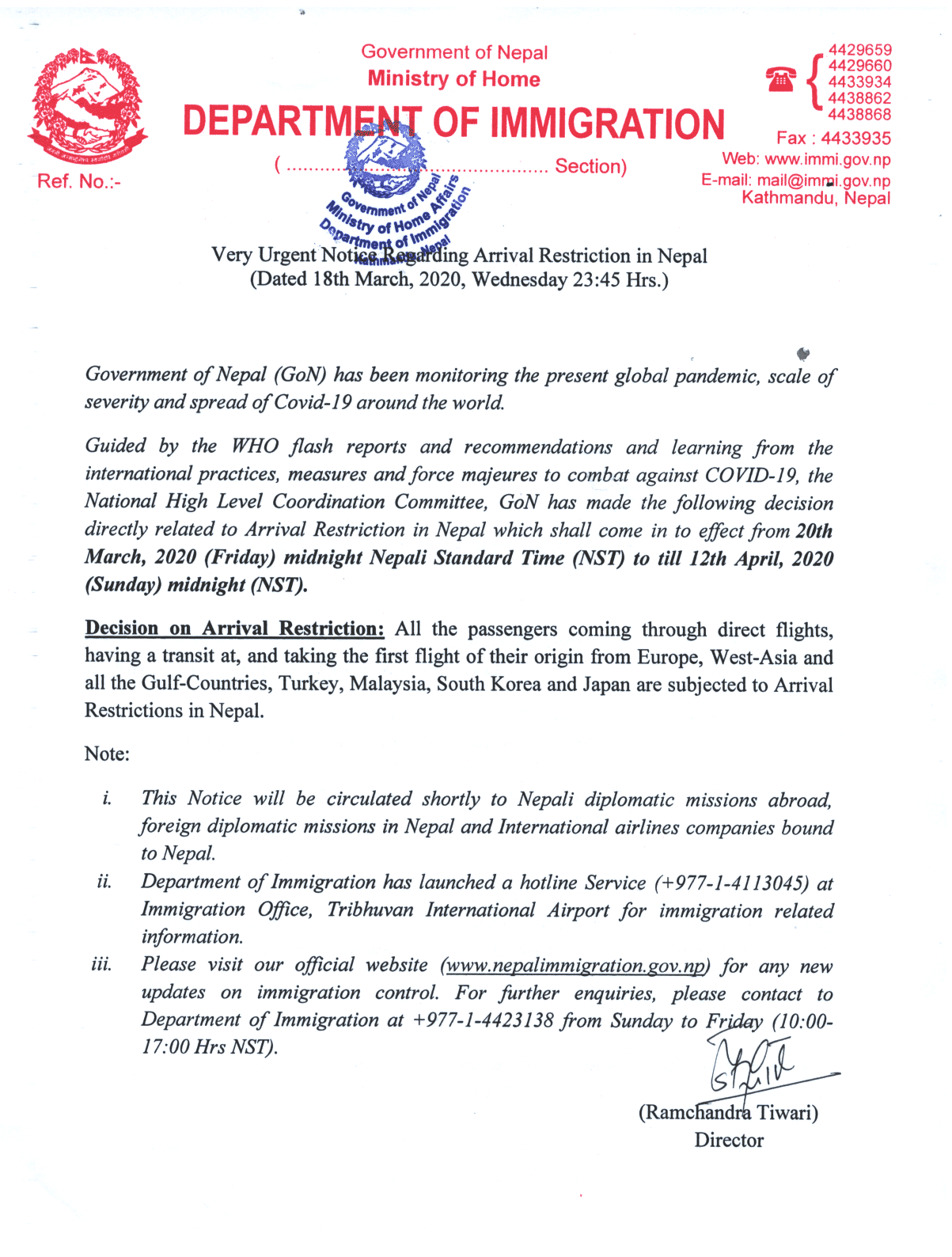 Nepal Government restriction arrival flight notice