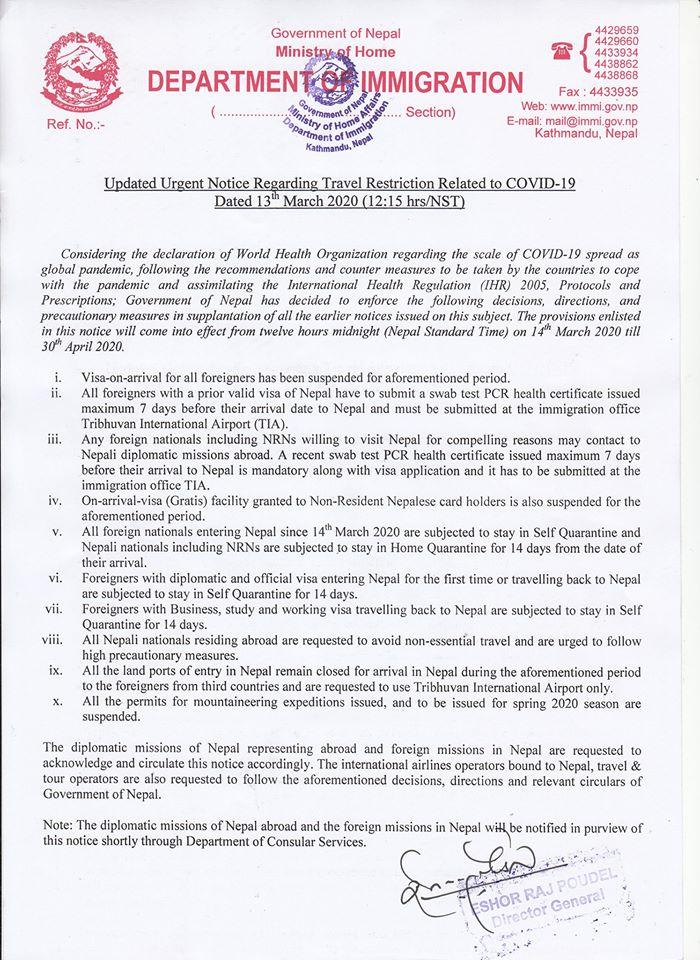 notice of nepal visa