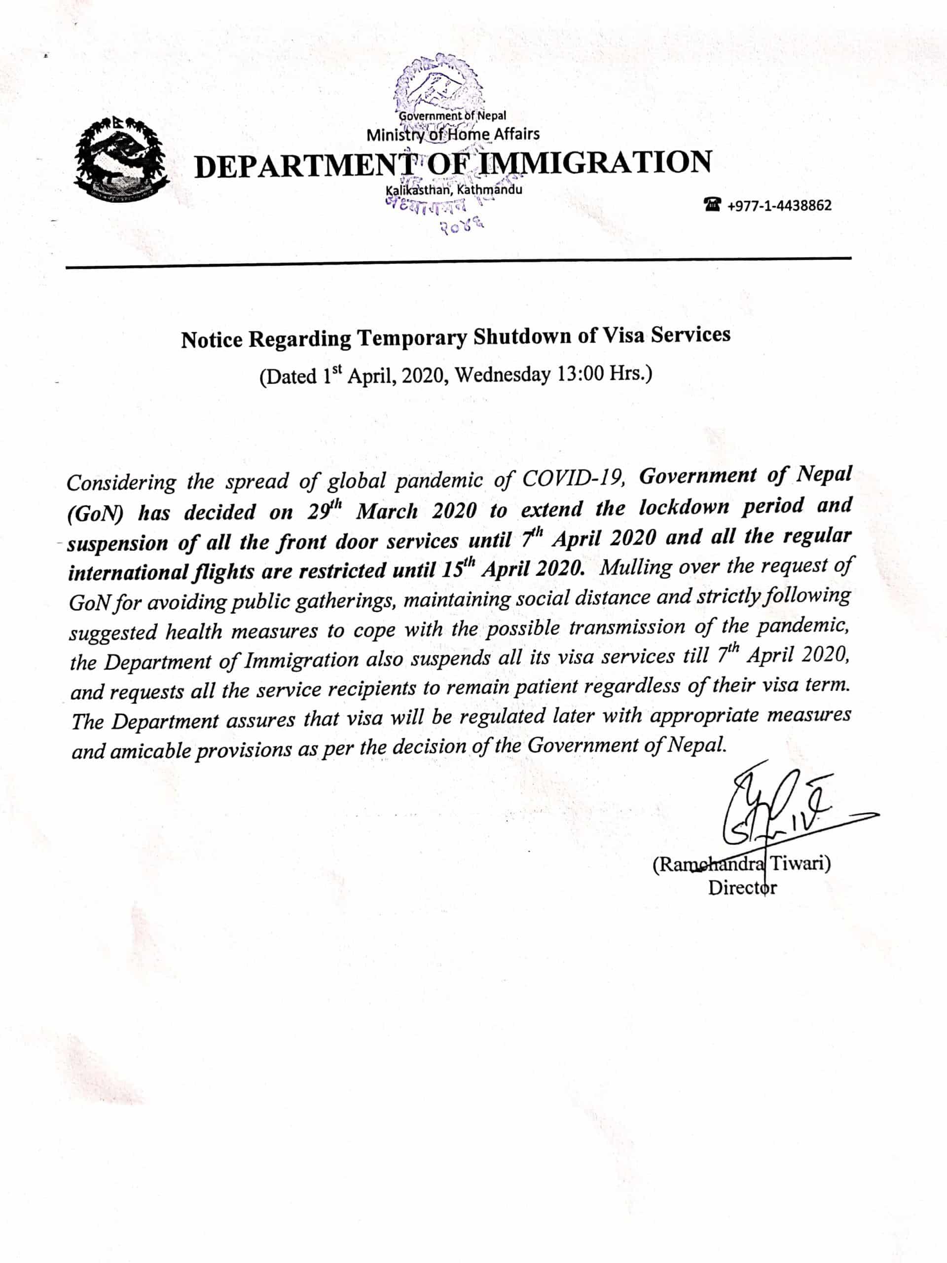 temporary shutdown of visa services